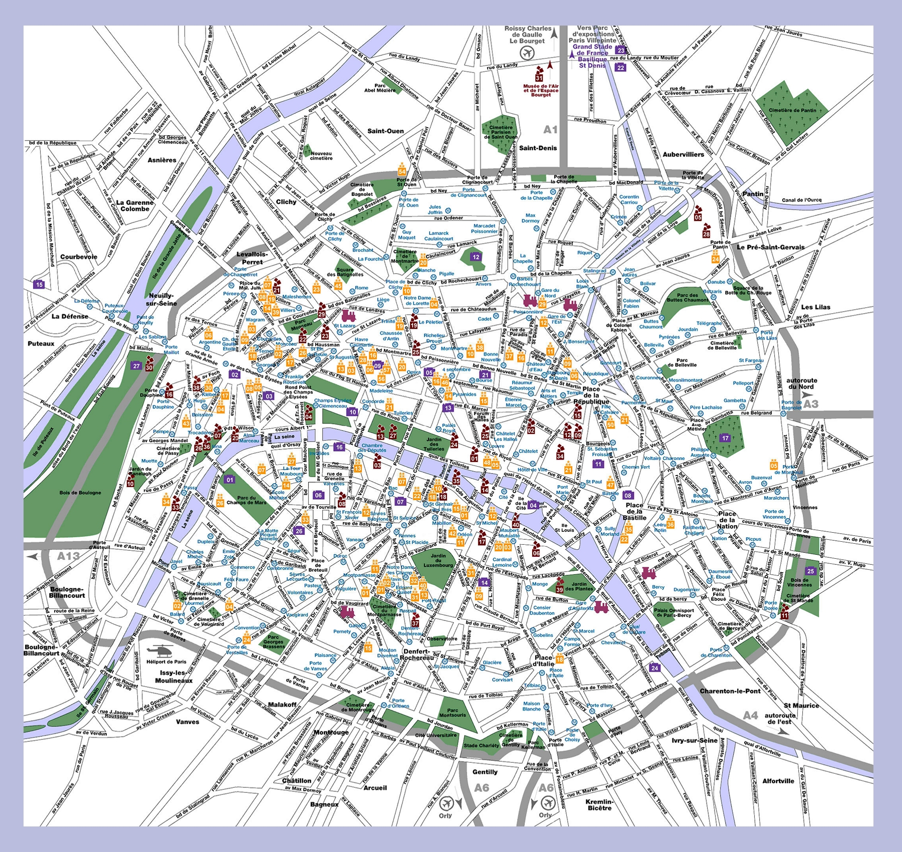 Map Of Landmarks In Paris Paris Tourist Attractions Map City Map – Map Of Central Paris Tourist